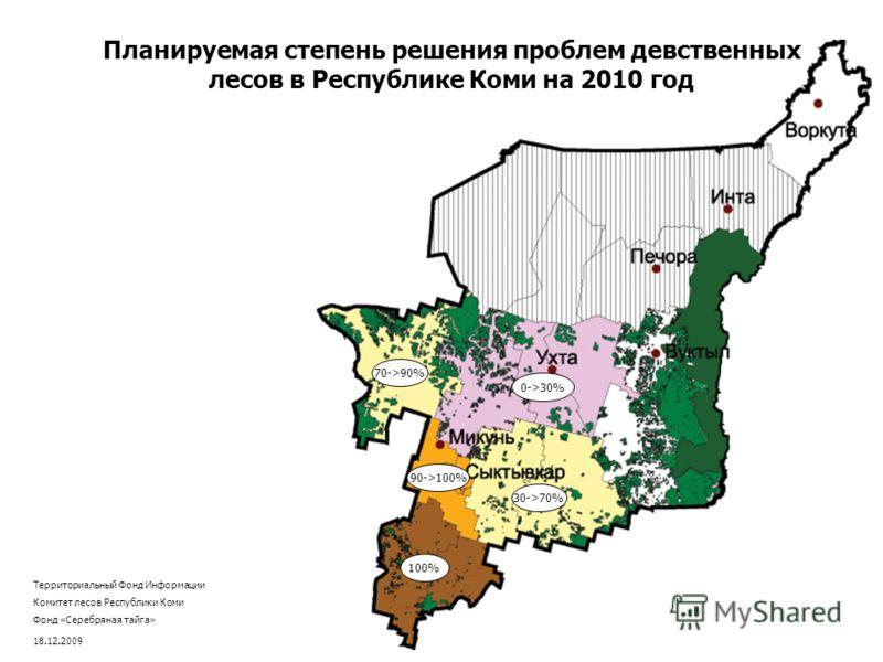 100% 90->100% 30->70% 70->90% 0->30% Планируемая степень решения проблем девственных лесов в Республике Коми на 2010 год Территориальный Фонд Информации Комитет лесов Республики Коми Фонд «Серебряная тайга» 18.12.2009