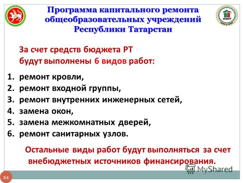 24 Программа капитального ремонта общеобразовательных учреждений Республики Татарстан За счет средств бюджета РТ будут выполнены 6 видов работ: 1.ремонт кровли, 2.ремонт входной группы, 3.ремонт внутренних инженерных сетей, 4.замена окон, 5.замена ме