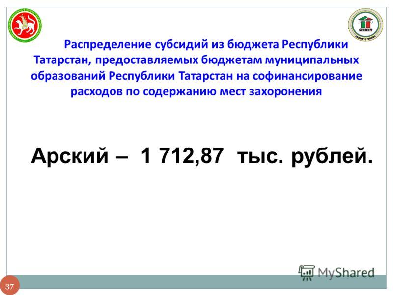 37 Распределение субсидий из бюджета Республики Татарстан, предоставляемых бюджетам муниципальных образований Республики Татарстан на софинансирование расходов по содержанию мест захоронения Арский – 1 712,87 тыс. рублей.