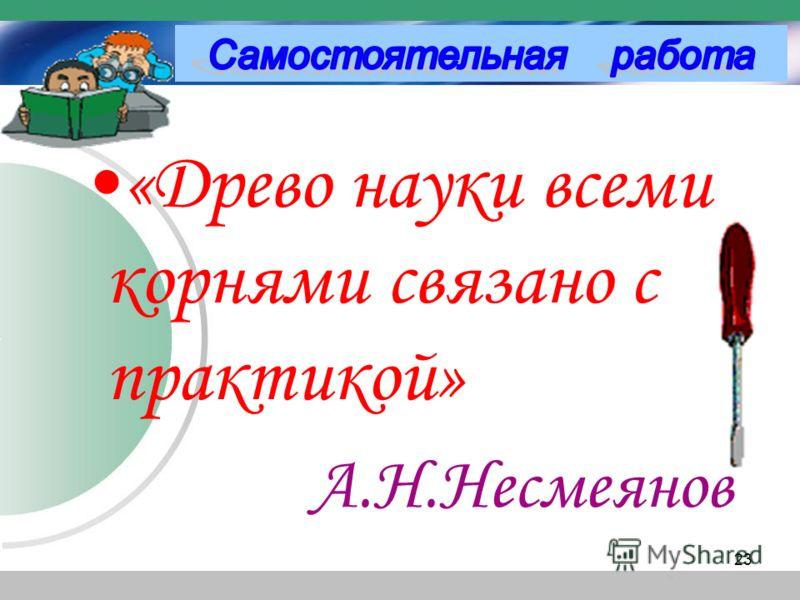 «Древо науки всеми корнями связано с практикой» А.Н.Несмеянов 23