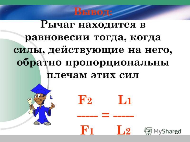 Вывод : Рычаг находится в равновесии тогда, когда силы, действующие на него, обратно пропорциональны плечам этих сил F 2 L 1 ----- = ----- F 1 L 2 30