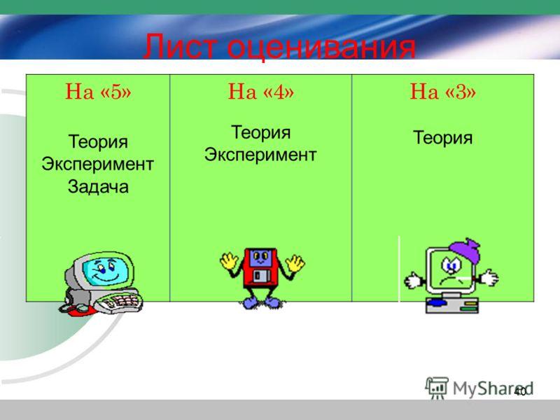 На «5» Теория Эксперимент Задача На «4» Теория Эксперимент На «3» Теория Лист оценивания 40