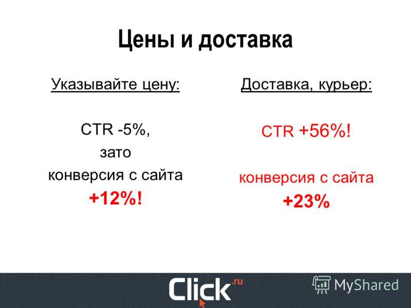 Цены и доставка Указывайте цену: CTR -5%, зато конверсия с сайта +12%! Доставка, курьер: CTR +56%! конверсия с сайта +23%