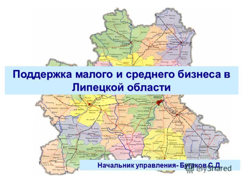 Поддержка малого и среднего бизнеса в Липецкой области Начальник управления- Бугаков С.Д.