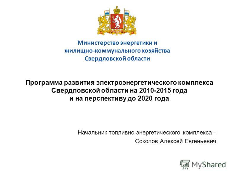 Министерство энергетики и жилищно-коммунального хозяйства Свердловской области Программа развития электроэнергетического комплекса Свердловской области на 2010-2015 года и на перспективу до 2020 года Начальник топливно-энергетического комплекса – Сок