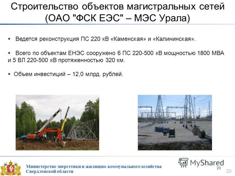 Министерство энергетики и жилищно-коммунального хозяйства Свердловской области 20 Строительство объектов магистральных сетей (ОАО