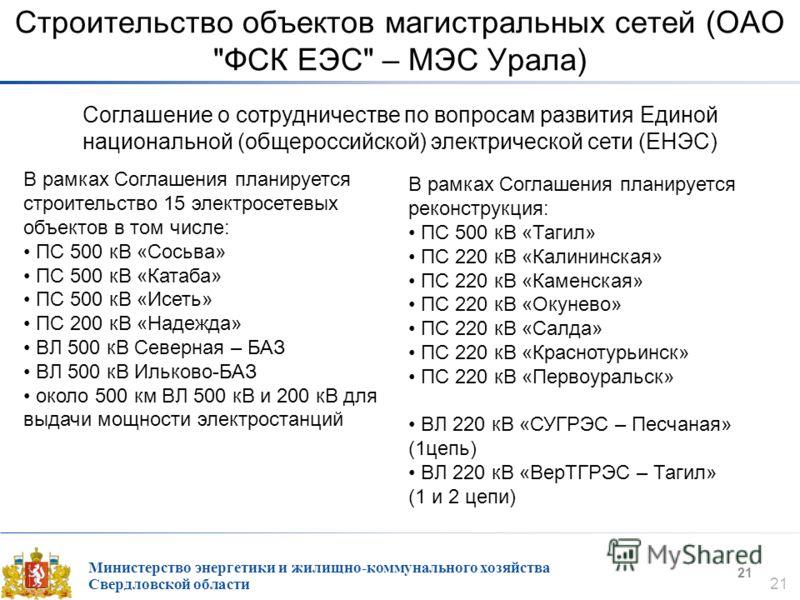 Министерство энергетики и жилищно-коммунального хозяйства Свердловской области 21 Строительство объектов магистральных сетей (ОАО