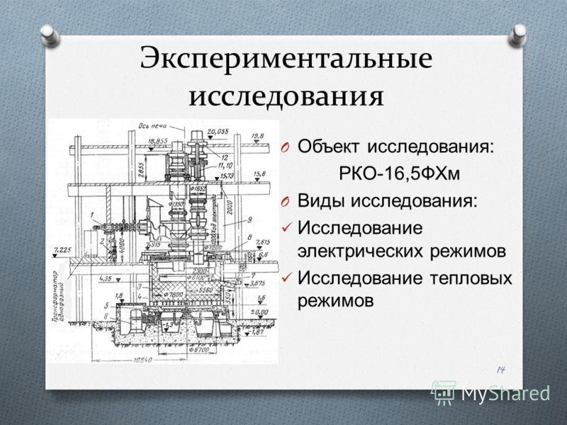 Экспериментальные исследования 14 O Объект исследования : РКО -16,5 ФХм O Виды исследования : Исследование электрических режимов Исследование тепловых режимов