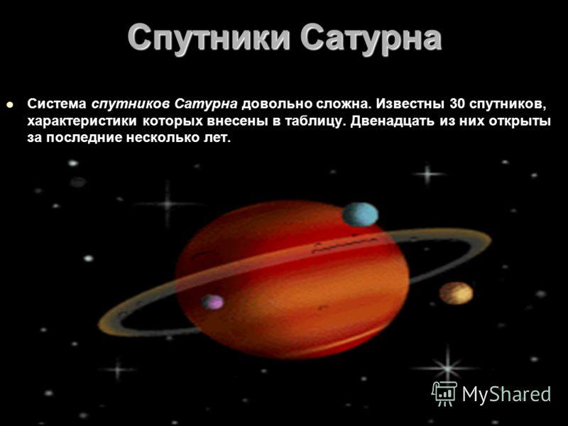 Спутники Сатурна Система спутников Сатурна довольно сложна. Известны 30 спутников, характеристики которых внесены в таблицу. Двенадцать из них открыты за последние несколько лет.
