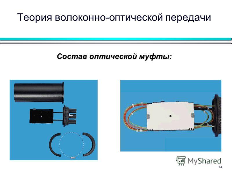 64 Теория волоконно-оптической передачи Состав оптической муфты: