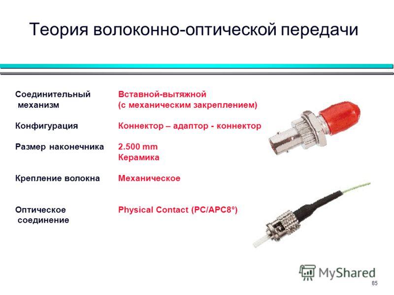 85 Теория волоконно-оптической передачи Вставной-вытяжной (с механическим закреплением) Коннектор – адаптор - коннектор 2.500 mm Керамика Механическое Physical Contact (PC/APC8°) Соединительный механизм Конфигурация Размер наконечника Крепление волок