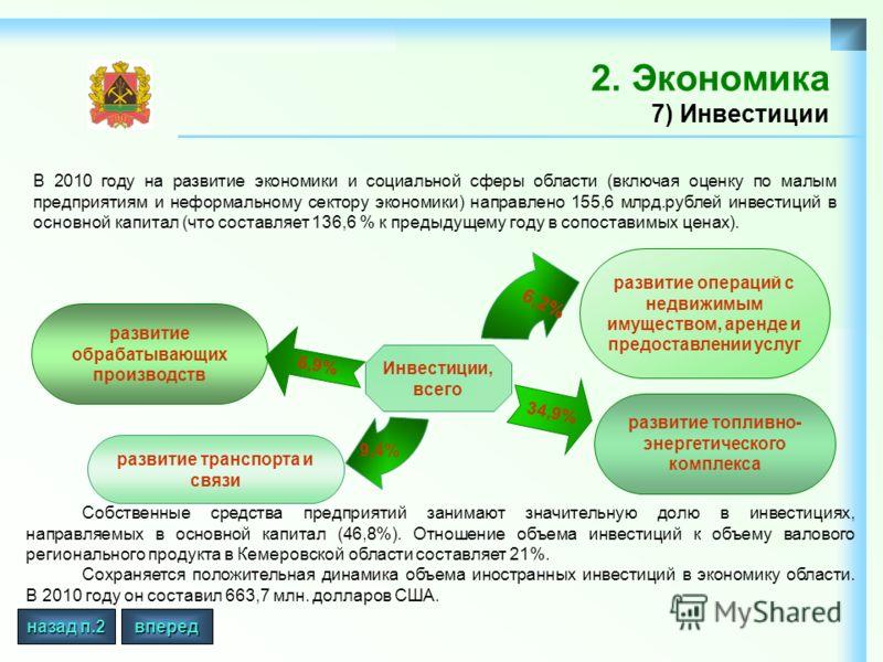 2. Экономика 7) Инвестиции В 2010 году на развитие экономики и социальной сферы области (включая оценку по малым предприятиям и неформальному сектору экономики) направлено 155,6 млрд.рублей инвестиций в основной капитал (что составляет 136,6 % к пред