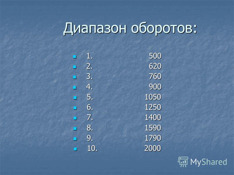Диапазон оборотов: Диапазон оборотов: 1. 500 1. 500 2. 620 2. 620 3. 760 3. 760 4. 900 4. 900 5. 1050 5. 1050 6. 1250 6. 1250 7. 1400 7. 1400 8. 1590 8. 1590 9. 1790 9. 1790 10. 2000 10. 2000