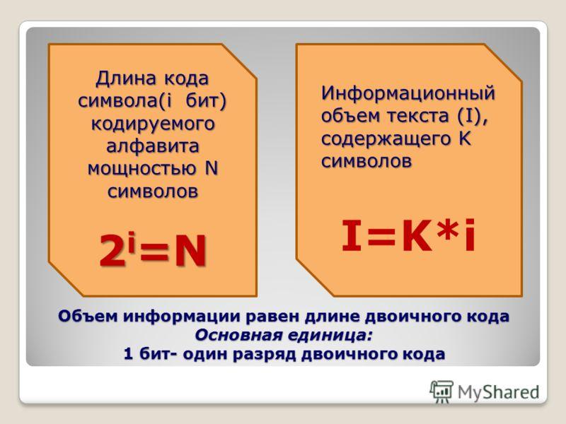 Объем информации равен длине двоичного кода Основная единица: 1 бит- один разряд двоичного кода Длина кода символа(i бит) кодируемого алфавита мощностью N символов 2 i =N 2 i =N Информационный объем текста (I), содержащего K символов I=K*i