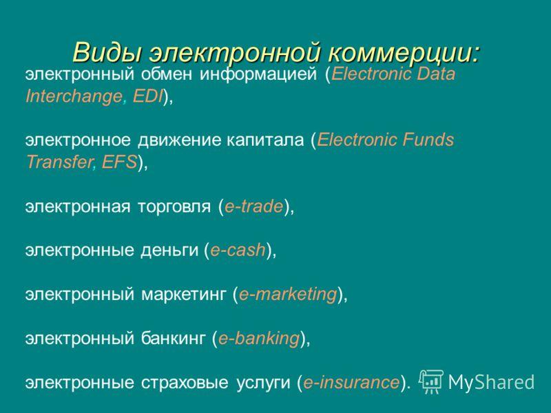 Виды электронной коммерции: электронный обмен информацией (Electroniс Data Interchange, EDI), электронное движение капитала (Electronic Funds Transfer, EFS), электронная торговля (e-trade), электронные деньги (e-cash), электронный маркетинг (e-market