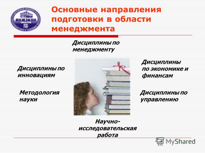 Основные направления подготовки в области менеджмента Дисциплины по менеджменту Дисциплины по экономике и финансам Дисциплины по управлению Дисциплины по инновациям Методология науки Научно- исследовательская работа