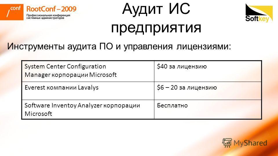 Инструменты аудита ПО и управления лицензиями: System Center Configuration Manager корпорации Microsoft $40 за лицензию Everest компании Lavalys$6 – 20 за лицензию Software Inventoy Analyzer корпорации Microsoft Бесплатно Аудит ИС предприятия