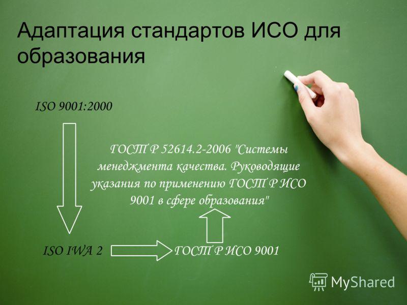 Адаптация стандартов ИСО для образования ISO 9001:2000 ISO IWA 2ГОСТ Р ИСО 9001 ГОСТ Р 52614.2-2006 Системы менеджмента качества. Руководящие указания по применению ГОСТ Р ИСО 9001 в сфере образования