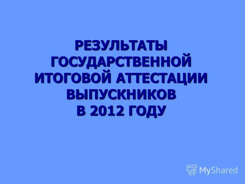 РЕЗУЛЬТАТЫ ГОСУДАРСТВЕННОЙ ИТОГОВОЙ АТТЕСТАЦИИ ВЫПУСКНИКОВ В 2012 ГОДУ