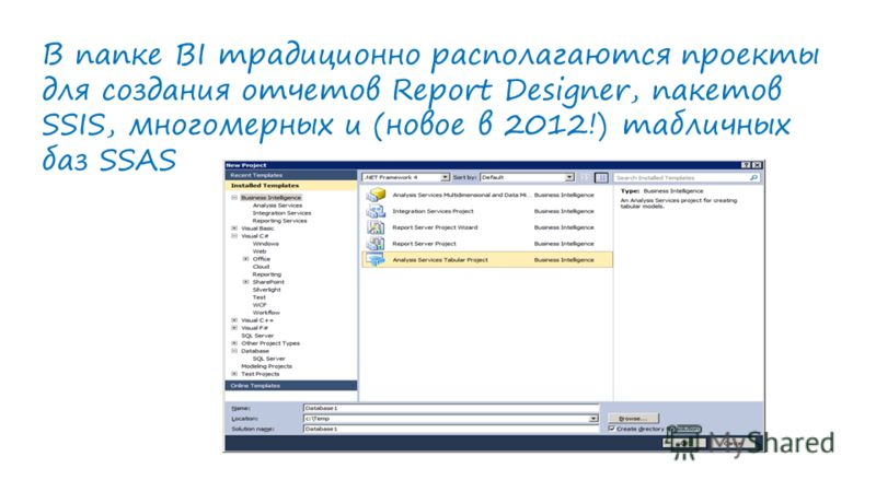 В папке BI традиционно располагаются проекты для создания отчетов Report Designer, пакетов SSIS, многомерных и (новое в 2012!) табличных баз SSAS