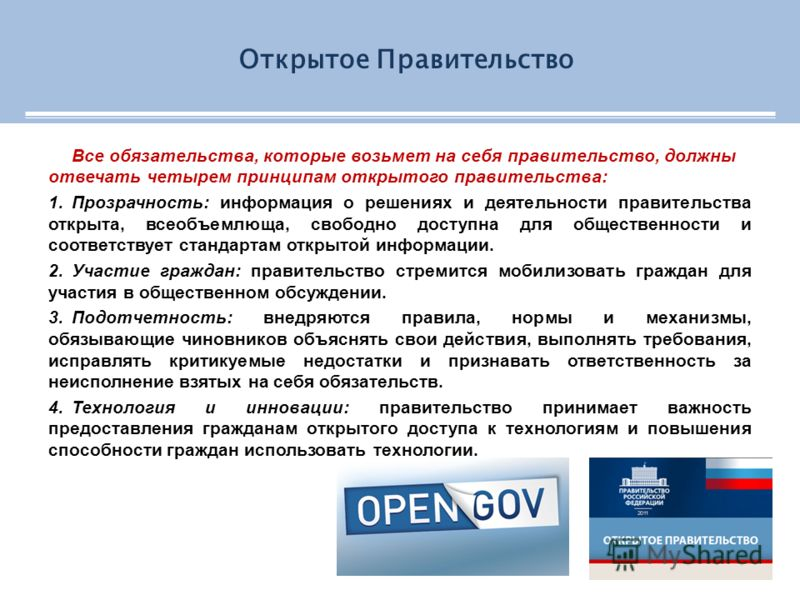 Все обязательства, которые возьмет на себя правительство, должны отвечать четырем принципам открытого правительства: 1.Прозрачность: информация о решениях и деятельности правительства открыта, всеобъемлюща, свободно доступна для общественности и соот