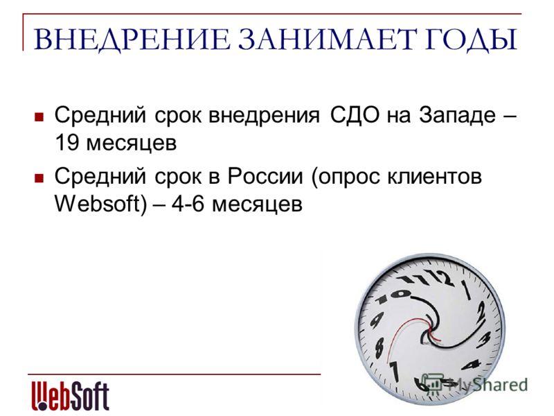 ВНЕДРЕНИЕ ЗАНИМАЕТ ГОДЫ Средний срок внедрения СДО на Западе – 19 месяцев Средний срок в России (опрос клиентов Websoft) – 4-6 месяцев