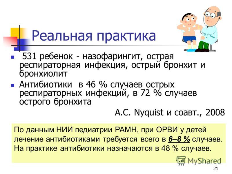 Реальная практика 531 ребенок - назофарингит, острая респираторная инфекция, острый бронхит и бронхиолит Антибиотики в 46 % случаев острых респираторных инфекций, в 72 % случаев острого бронхита A.C. Nyquist и соавт., 2008 21 По данным НИИ педиатрии