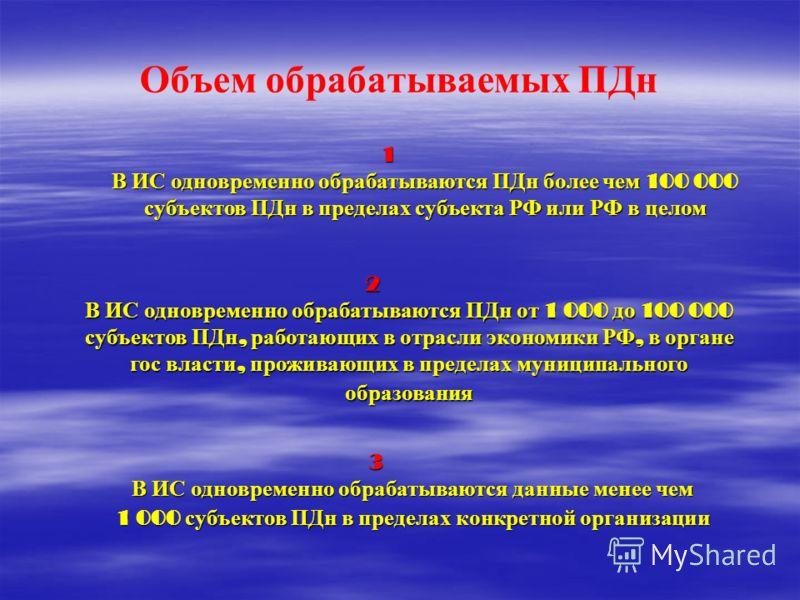 Объем обрабатываемых ПДн 1 В ИС одновременно обрабатываются ПДн более чем 100 000 субъектов ПДн в пределах субъекта РФ или РФ в целом 2 В ИС одновременно обрабатываются ПДн от 1 000 до 100 000 субъектов ПДн, работающих в отрасли экономики РФ, в орган