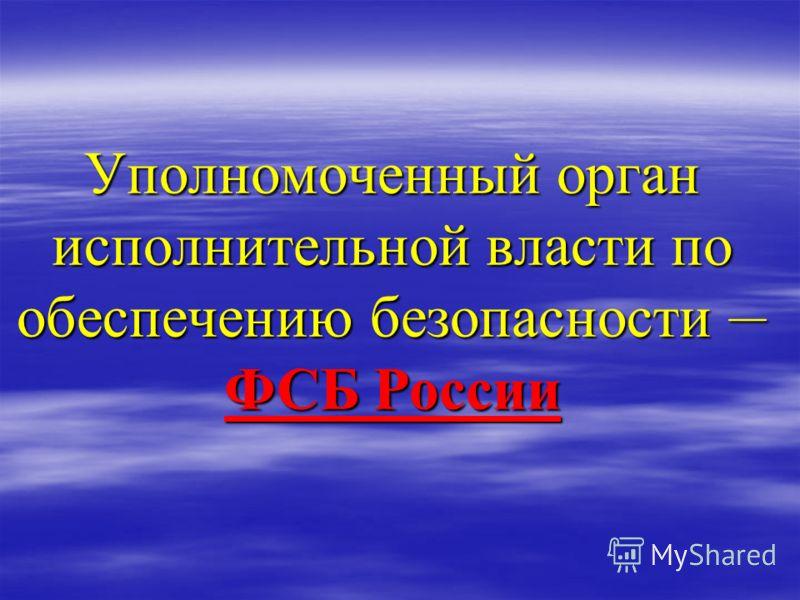 Уполномоченный орган исполнительной власти по обеспечению безопасности – ФСБ России