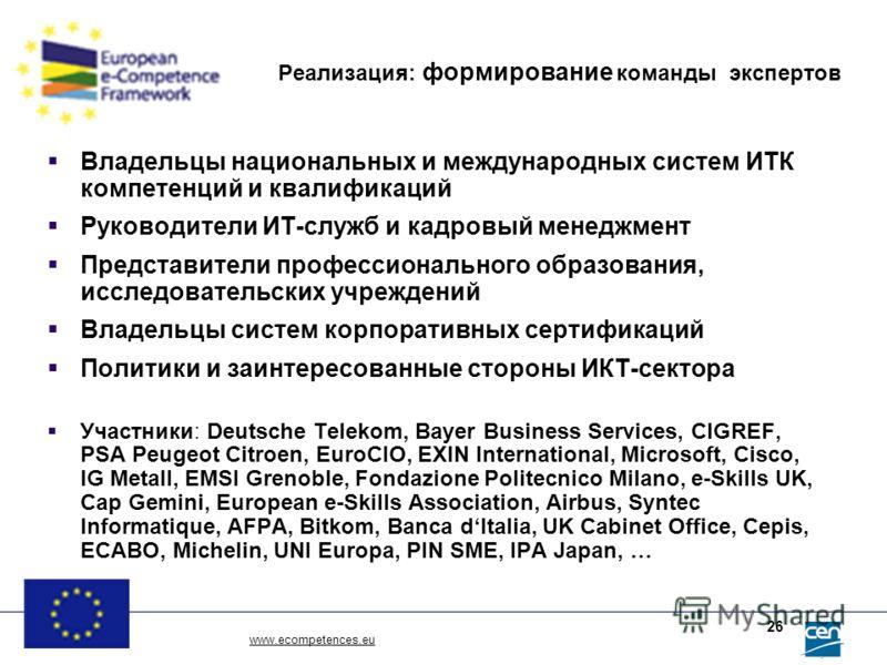www.ecompetences.eu 26 Реализация: формирование команды экспертов Владельцы национальных и международных систем ИТК компетенций и квалификаций Руководители ИТ-служб и кадровый менеджмент Представители профессионального образования, исследовательских