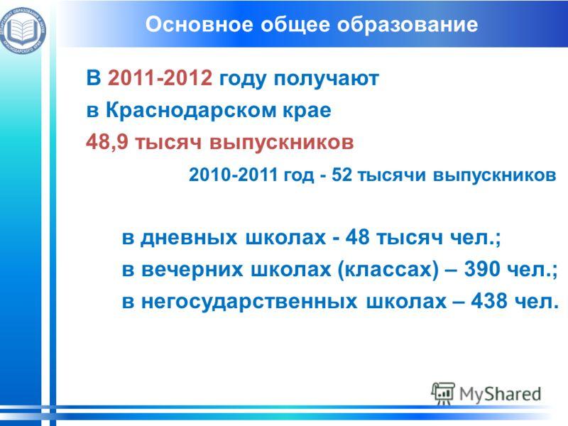 В 2011-2012 году получают в Краснодарском крае 48,9 тысяч выпускников 2010-2011 год - 52 тысячи выпускников в дневных школах - 48 тысяч чел.; в вечерних школах (классах) – 390 чел.; в негосударственных школах – 438 чел. Основное общее образование