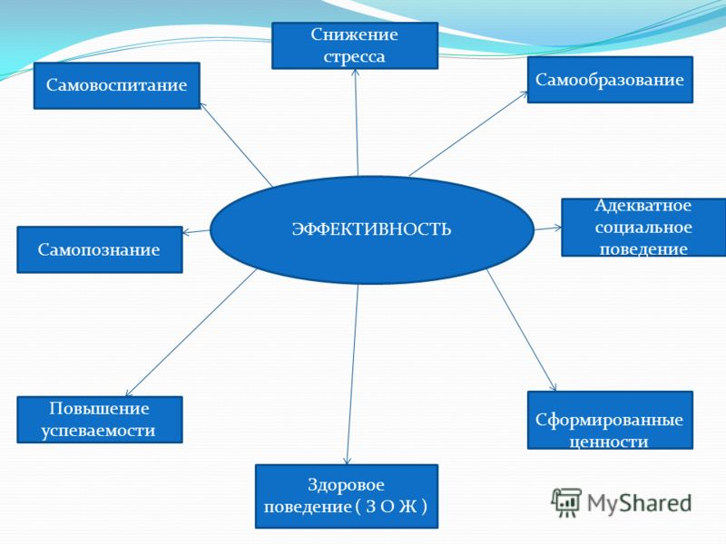 ЭФФЕКТИВНОСТЬ Самовоспитание Адекватное социальное поведение Снижение стресса Самообразование Самопознание Сформированные ценности Повышение успеваемости Здоровое поведение ( З О Ж )