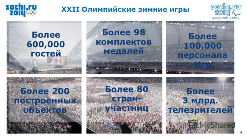 4 Add text 4 XXII Олимпийские зимние игры Более 98 комплектов медалей Более 600,000 гостей Более 100,000 персонала Игр Более 200 построенных объектов Более 3 млрд. телезрителей Более 80 стран- участниц