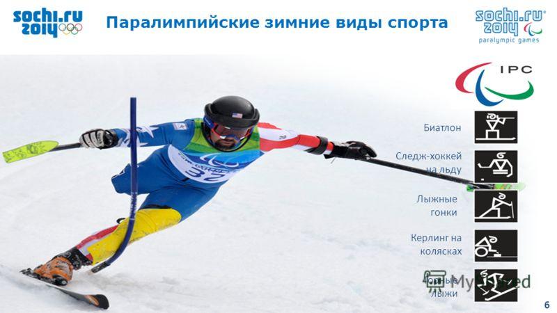 6 Add text 6 6 Горные лыжи Лыжные гонки Биатлон Керлинг на колясках Следж-хоккей на льду 6 Паралимпийские зимние виды спорта