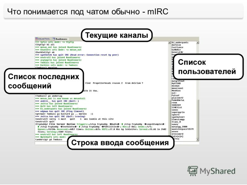 Что понимается под чатом обычно - mIRC