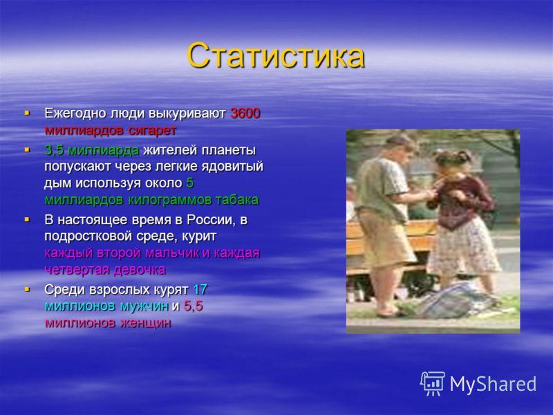 Статистика Ежегодно люди выкуривают 3600 миллиардов сигарет 3,5 миллиарда жителей планеты попускают через легкие ядовитый дым используя около 5 миллиардов килограммов табака В настоящее время в России, в подростковой среде, курит каждый второй мальчи