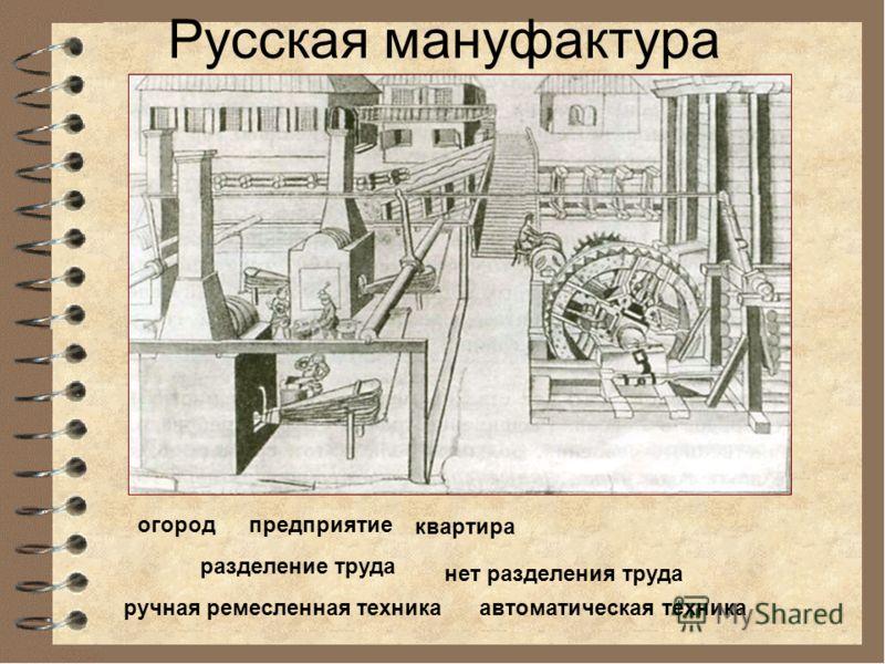 Русская мануфактура предприятиеогород квартира ручная ремесленная техника разделение труда нет разделения труда автоматическая техника