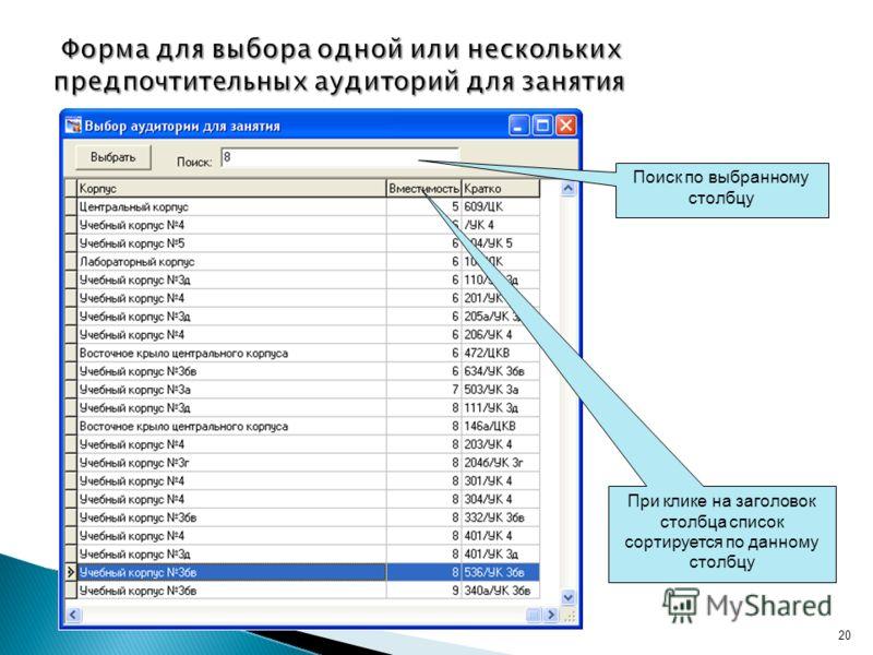 Поиск по выбранному столбцу При клике на заголовок столбца список сортируется по данному столбцу 20