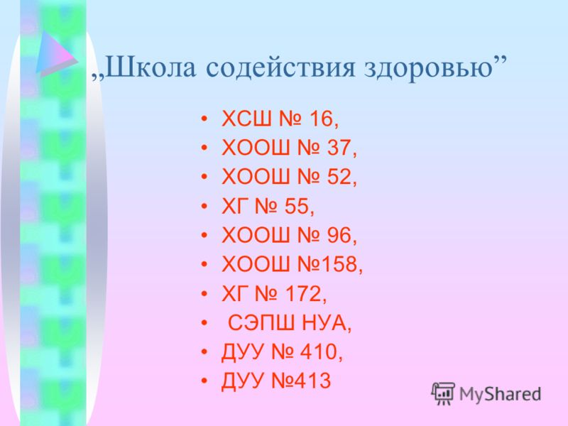 Школа содействия здоровью ХСШ 16, ХООШ 37, ХООШ 52, ХГ 55, ХООШ 96, ХООШ 158, ХГ 172, СЭПШ НУА, ДУУ 410, ДУУ 413