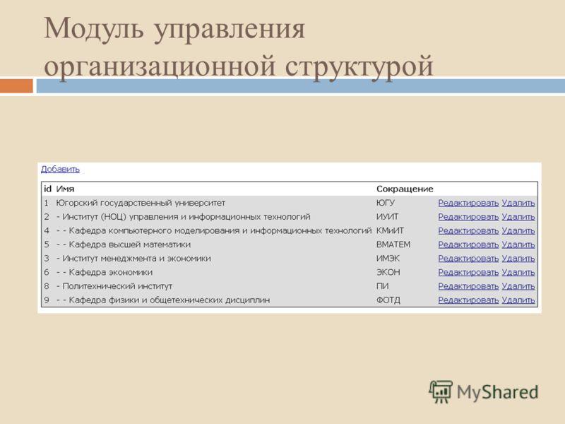 Модуль управления организационной структурой