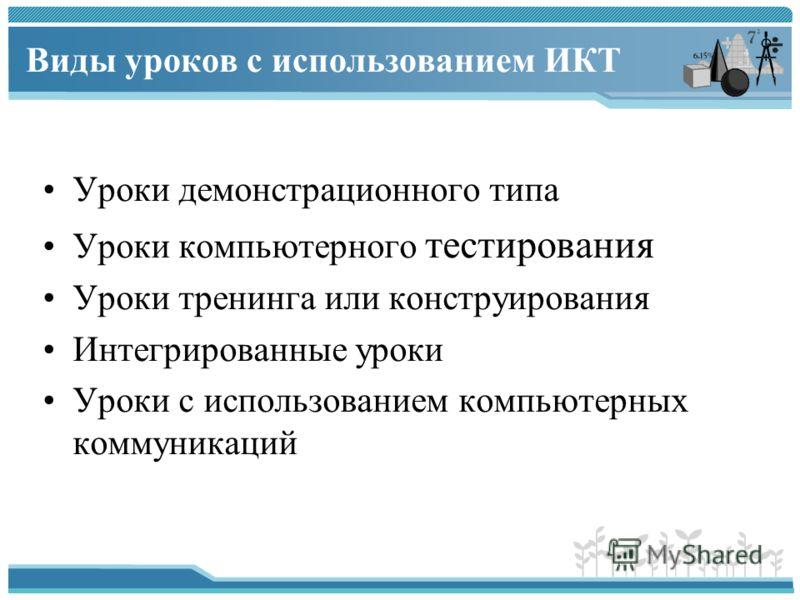 Виды уроков с использованием ИКТ Уроки демонстрационного типа Уроки компьютерного тестирования Уроки тренинга или конструирования Интегрированные уроки Уроки с использованием компьютерных коммуникаций