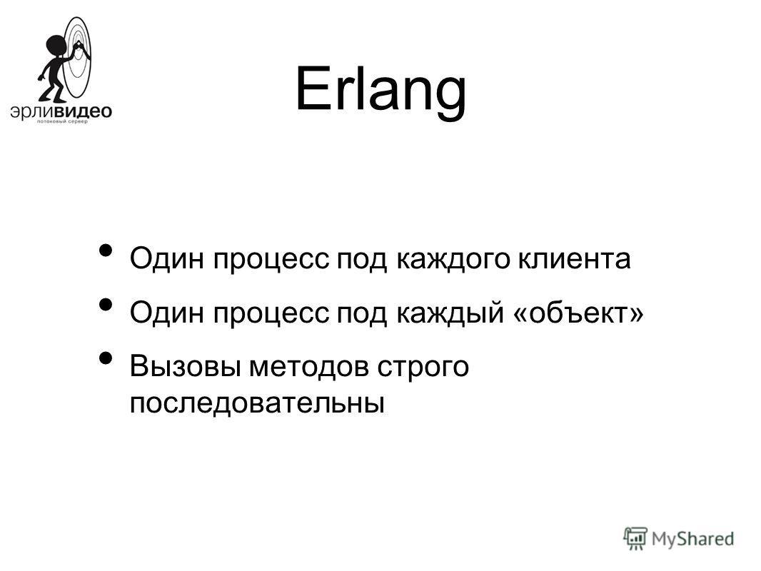 Erlang Один процесс под каждого клиента Один процесс под каждый «объект» Вызовы методов строго последовательны