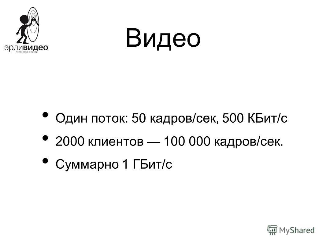 Видео Один поток: 50 кадров/сек, 500 КБит/с 2000 клиентов 100 000 кадров/сек. Суммарно 1 ГБит/с