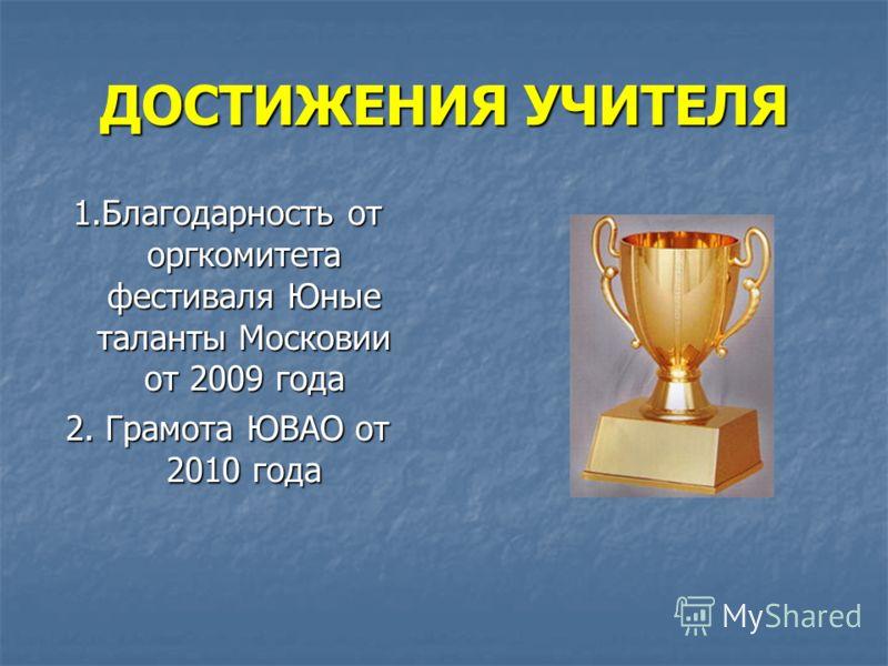 ДОСТИЖЕНИЯ УЧИТЕЛЯ 1.Благодарность от оргкомитета фестиваля Юные таланты Московии от 2009 года 2. Грамота ЮВАО от 2010 года