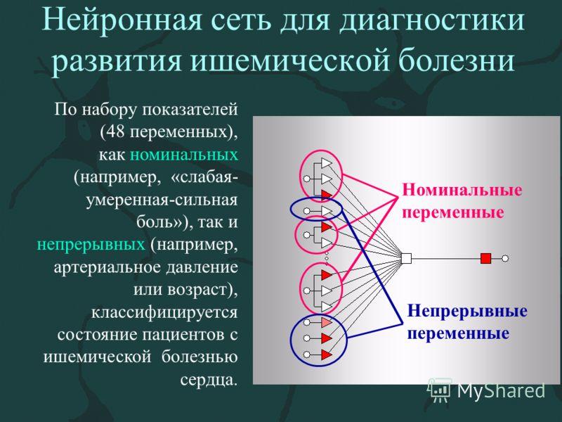 Нейронная сеть для диагностики развития ишемической болезни По набору показателей (48 переменных), как номинальных (например, «слабая- умеренная-сильная боль»), так и непрерывных (например, артериальное давление или возраст), классифицируется состоян