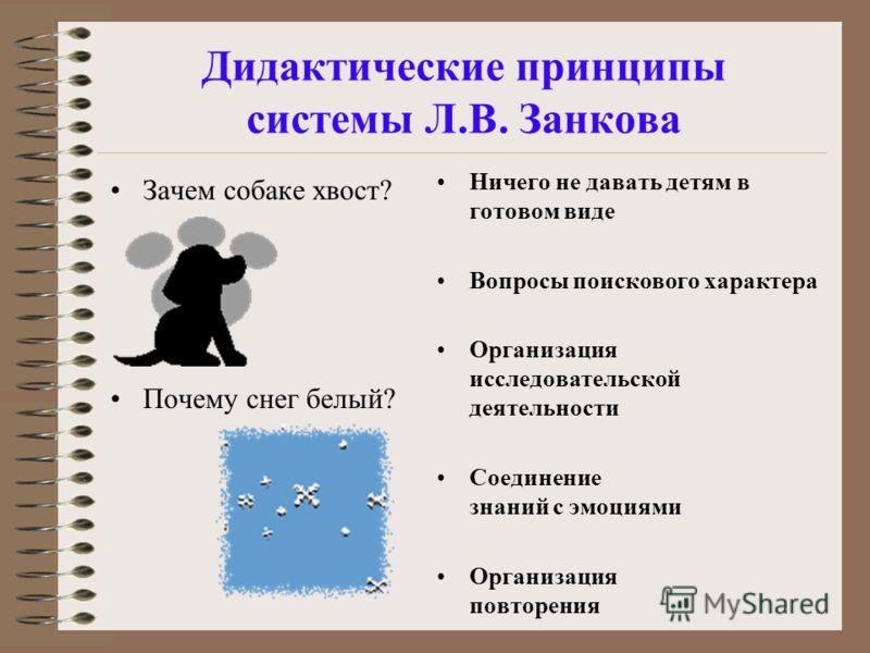 Дидактические принципы системы Л.В. Занкова Зачем собаке хвост? Почему снег белый? Ничего не давать детям в готовом виде Вопросы поискового характера Организация исследовательской деятельности Соединение знаний с эмоциями Организация повторения