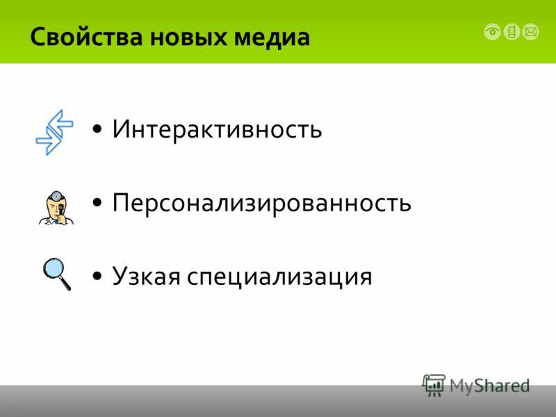 Свойства новых медиа Интерактивность Персонализированность Узкая специализация