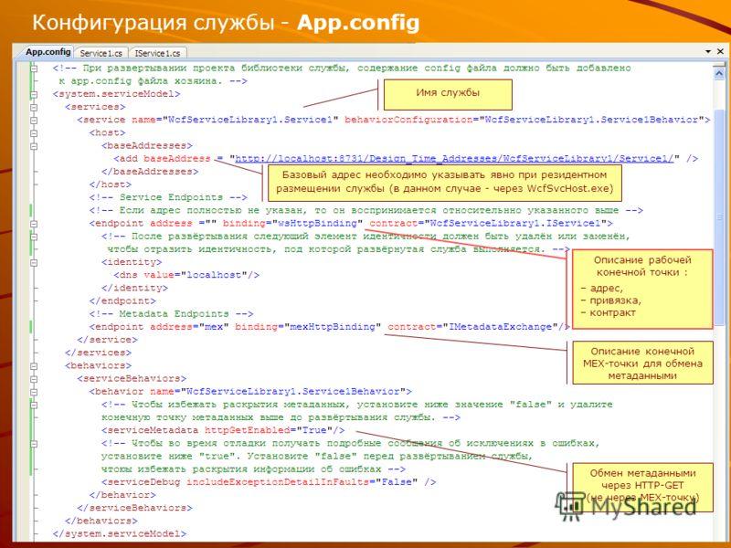 Конфигурация службы - App.config Имя службы Описание рабочей конечной точки : – адрес, – привязка, – контракт Описание конечной MEX-точки для обмена метаданными Обмен метаданными через HTTP-GET (не через MEX-точку) Базовый адрес необходимо указывать