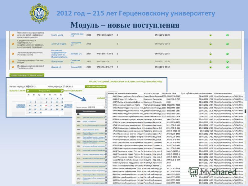 2012 год – 215 лет Герценовскому университету Модуль – новые поступления