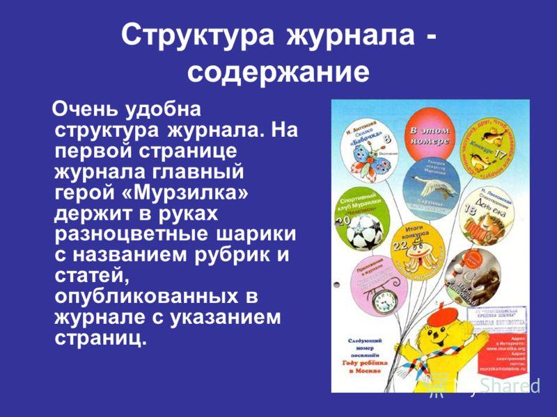 Структура журнала - содержание Очень удобна структура журнала. На первой странице журнала главный герой «Мурзилка» держит в руках разноцветные шарики с названием рубрик и статей, опубликованных в журнале с указанием страниц.